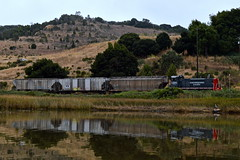 Waiting at Haystack (caltrain927) Tags: northwestern pacific railroad railway shortline emd mp15dc mp15 electromotivediesel loaded grain freight cars hoppers hopper nwp local petaluma california ca haystack bridge river
