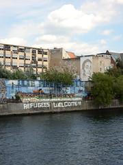 Refugees welcome (aestheticsofcrisis) Tags: street art urban intervention streetart urbanart guerillaart graffiti graffity berlin germany europe friedrichshain refugeeswelcome vhils