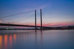 Dsseldorf bridge (Imaginative Lens) Tags: long exposure bridge dsseldorf rhine river sunset blue red reflection lights sony water clouds sky skyline outdoor