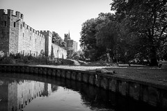 Looking Towards Cardiff Castle FDT (#105) (Forty-9) Tags: cardiff efs1785mmf456isusm forty9 tuesday 2016 blackandwhite facedowntuesday facedown town castle bw 30082016 lightroom canon fdt efslens cardiffcastle park eos60d fdt105 dayout 30thaugust2016 butepark august river