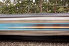 Blue and Gold streak (Nathan Murphy) Tags: xpt nswtrainlink nswtrains nsw trains stations platfrom lights trails blue yellow intercity colours day night lapstone