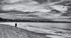 City by the sea. (Greatdog) Tags: bournemouth dorset clouds cloudsstormssunsetssunrises sea beach blackandwhite landscape