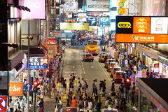 No Sleeping In Mongkok. (T.30) Tags: city light people signs electric night dark downtown cityscape nightscape nightshot zoom live taxi sony citylife cities overpass hong kong 香港 mongkok tamron 18200 streetscape core kok lively mong 旺角 tamron18200 mirrorless a6000 a6000sony
