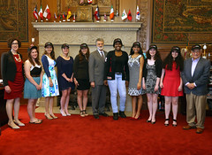 Cleveland Mayor Frank Jackson, Maltz Museum Founder Milton Maltz, Maltz Museum Executive Director Ellen Rudolph and the 2015 Stop the Hate®: Youth Speak Out finalists at City Hall