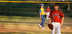 Off Second (spinadelic) Tags: blue red boys field yellow rock spring shoes pants baseball little path helmet may nike deputy junior jersey second glove arkansas runner pitcher lead base sleeveless stevespencer 2015