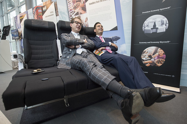 Alexander Dobrindt and Simon Bridges try out Air New Zealand's Skycouch