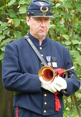 Civil War Bugler (reenactor) (sharon'soutlook) Tags: portrait man male horn bugle bugler 2015 memorialdayceremony springgrovecemetery reenactmentgroup civilwaruniform sixthohiovolunteerinfantry