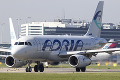The smallest Airbus within the fleet of Adria Airways. (rhietbrink) Tags: airbus airways departure takeoff schiphol lining adria eham a319 a319112 s5aar