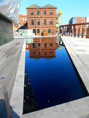 Titanic reflections. (Trevor Lawrence Photos Northern Ireland) Tags: blue reflections office wolf drawing belfast quarter titanic harland