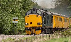 Ex-DRS Class 37/6 no 37608 Approaches Boughton Junction on the Network Rail Test Track on 20/05/2016 (kevaruka) Tags: railroad blue england test orange color colour colors yellow yard train canon eos spring high mine flickr track colours britain outdoor united great transport rail railway kingdom trains front pit junction mining page april vehicle 5d locomotive 37 dull freight nottinghamshire colliery boughton 1635 thoresby edwinstowe mk3 clipstone 2016 drs colas ef100400 37175 37424 37608 f4556l marnham cpal 37602 5d3 5diii ilobsterit