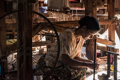 Concentration (ravalli1) Tags: portrait woman lake art clothing lotus burma craft cotton myanmar inle dailylife shan tradition weaving artisan