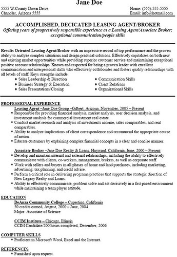 call center agent resume samples - Leasing Agent Sample Resume