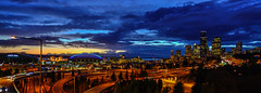 Seattle Downtown (Aleem Yousaf) Tags: seattle blue sunset sky architecture clouds town photo nikon cityscape walk down hour d800 1835mm