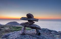 Inukshuk on Signal Hill (skylarhodder) Tags: ocean canada sunrise newfoundland coast labrador hill nation first atlantic inuit signal inukshuk innu