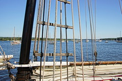 Through The Rigging (thetrick113) Tags: connecticutrivermuseum connecticutriver essexconnecticut river eastcoast northeast newengland sonyslta65v summer2016 summer 2016 sailboat schooner schoomermarye marye woodboat tours tour vessel workingvessel rigging block blockandtackle rope line equipment sail mast moor harbor easternseaboard atlanticseaboard hdr