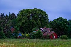 Old farmstead (paulius.malinovskis) Tags: sony summer sweden scandinavia old farmstead house bluehour trees wood uppsala