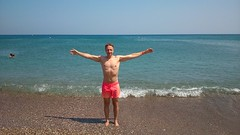 (alexyv) Tags:  leshka sea   surf  beach  vacation holidays me self  abs  chest shirtless barechested   guy man male shirtlessguy   pink shorts    greece rhodes