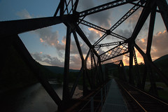 Grids (aaronsemasko) Tags: pawilds pennsylvania driftwood branch sinnemahoning creek sunset bridge railroad river stream