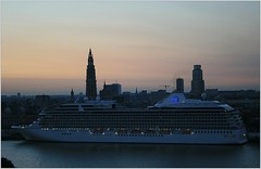 Cruise Ship MS Marina ...  Oceania Cruises.       (in Explore) (Aquarius15) Tags: belgium antwerp sunrise summer cruiseshipmsmarina oceaniacruises ships boats cruise clouds sky skyline city architecture riverscheldt water waves reflections trees docked