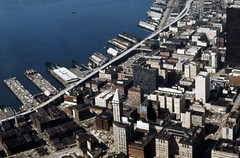 Aerial of waterfront, circa 1972 (Seattle Municipal Archives) Tags: seattlemunicipalarchives seattle pugetsound elliottbay waterfronts piers alaskanwayviaductsmith towerdowntown seattlepioneer square 1980s aerials