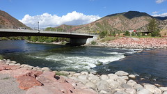 The Colorado River in Glenwood Springs, 200 miles from its source at La Poudre Pass (lhboudreau) Tags: rockymountains rockies mountain mountains outdoor outdoors colorado peaks mountainpeaks landscape landscapes coloradoriver water river genwoodsprings rock rocks bridge rapids whitewater
