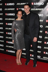 Larry and his wife at the AMMO Launch Party at Classic Car Club NYC