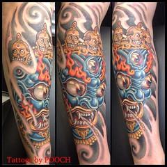 Mahakala mask tattoo, one sitting, 5 hours #mahakala #tibetanmask #poochart #alteredstatetattoo #vivace @neotatmachines #symbeos @eikondevice @fusionink_ca