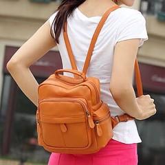 กระเป๋าเป้หนังใบเล็กสตรีสะพายหลัง สไตล์อินเทรนด์เกาหลี สวยใหม่ล่าสุดทันสมัยใช้ได้ทุกวัยขนาดกำลังดี ใช้ได้นานทนทาน ด้านในบุด้วยผ้า ทำด้วยหนังอย่างดีน้ำหนักเบา คล่องตัว เหมาะจะไปเที่ยวหรือไปทำงานก็น่ารักดูสวยใหม่มีให้เลือกสวย จะใส่เป็นกระเป๋าสะพาย กระเป๋าทำ
