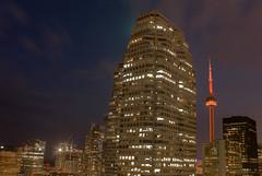 Toronto (umair434) Tags: blue sky toronto canada tower night cn canon buildings photography long exposure district tall financial 550d imagesofcanada torontophotos