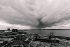 west wind (Cano Vri) Tags: sky bw water rain clouds suomi finland landscape island balticsea fi porvoo archipelago sderskr uusimaa 2015