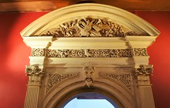 Ornate door frame... (DncnH) Tags: door nottingham shadow red face ornate greenman wollatonhall