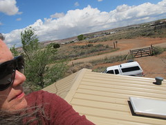 Upontheroof (Catzz1) Tags: roof newmexico tree clouds wind profile windy selfie