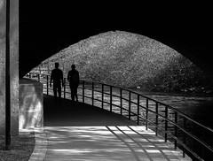 Under The Bridge (bjorbrei) Tags: bridge oslo norway river shadows silhouettes tunnel walkway railing akerselva