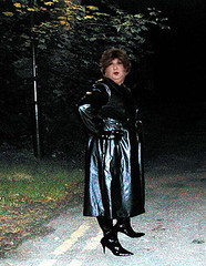 Caught in the headlights at night. (smmack) Tags: night dark shiny boots pvc blackmac