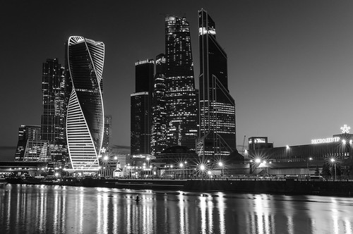Moscow City buildings black & white