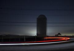 365-262 (• estatik •) Tags: 365262 365 262 august22016 8216 aug tues tuesday night long exposure icm intentionalcameramovement mount airy nj new jersey hunterdon county historic lambertville silo barn farm tail lights streak stream pan glow