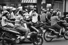 Scooter traffic in Hanoi, Vietnam (leonardrodriguez) Tags: vietnam bw black white nb noir blanc blackwhite noirblanc asie asia traffic trafic scooters smog pollution moto motorcycle