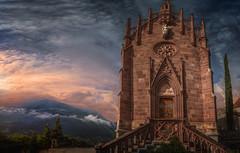 anybody in there? (Chrisnaton) Tags: schenna sdtirol mausoleum chapel gothic architecture eveningmood eveninglight sky hills landscape stairwaytoheaven angel sandstone erzherzogjohann heavensdoor meran