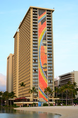 Rainbow Tower, Waikiki landmark (Ian E. Abbott) Tags: rainbow mosaic beachresort hiltonhawaiianvillage rainbowtower rainbowmosaic honoluluhotels waikikiresort oahuhotels waikikihotels hawaiianhotels