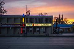 Casa Romana (bryanscott) Tags: sunset canada building architecture winnipeg manitoba signage