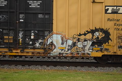 METAL (TheGraffitiHunters) Tags: street brown white black art face car metal train hair graffiti colorful paint guitar box gray tracks spray 70s boxcar freight benched benching