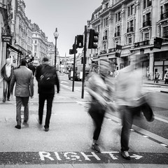 Right (greeneyedlens) Tags: road street people london town long exposure crossing central busy regents