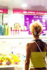 skinhead.jpg (petdek) Tags: barcelona people tattoo spain icecream catalunya es skinhead