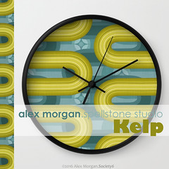 Kelp.wall clock (Spellstone) Tags: ocean sea wallpaper seaweed clock home modern illustration design artist folkart pattern forrest drawing linen craft towel spot surfacedesign textile fabric cotton kelp blanket mug rug environment decal reef tote duvet throw giftwrap totebag 2016 bedset duvetcover fabricdesign alexmorgan spoonflower spellstone society6 fabriccollections