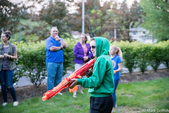 Roxy and her Big Gun (Mark Griffith) Tags: church washington issaquah youngmen tamron2875mmf28 combinedactivity nerfgunwars sonya7rii 20160518dsc04922