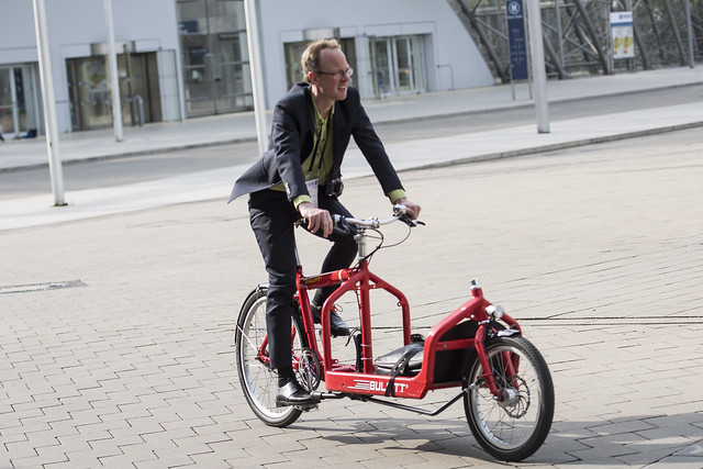Attendee tests out a cargo bike