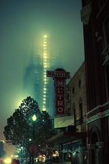 (eflon) Tags: street fog night theater downtown texas metro tx foggy houston majestic bldgs
