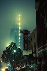 (eflon) Tags: street fog night theater downtown texas metro tx foggy houston majestic bldgs
