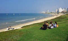Peaceful time at Jaffa beach (Gregor  Samsa) Tags: trip november autumn vacation people beach grass israel telaviv tel aviv jaffa adventure journey exploration jaffabeach