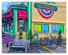 H. B. Provisions (Timothy Valentine) Tags: vacation bicycle sign bench us unitedstates maine monday kennebunk bunting 2016 0716